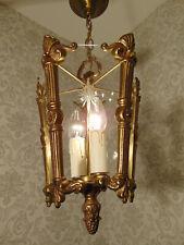 antik alte Laterne Kronleuchter Lüster Bronze Gold Glas Frankreich ca. 1920