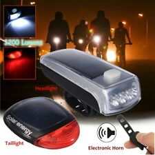 1200 Lumens Bike Bicycle Solar LED Front Headlight+Tail Rear Light Rechargeable