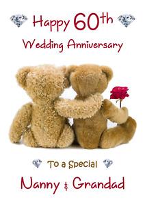 60th Wedding Anniversary Teddy Bears A5 Anniversary card -  Any NAMES