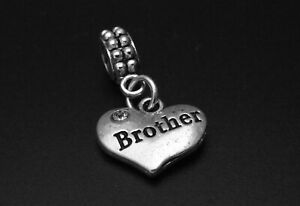 Brother Charm for Brand Bracelets and Necklaces Family Pendant Jewelry Silver