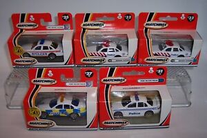 """5X """"MATCHBOX"""" **FORD POLICE CARS** CROWN VICTORIA FALCON WINDOW BOXES MIB"""