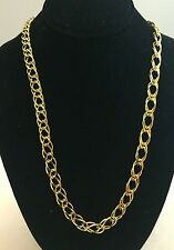 """Nice Large Solid 925 Gold-Plated Sterling Silver Double Link Chain Necklace 24"""""""