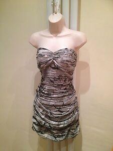 LIPSY Sexy Grey Black White Chiffon  Bandeau Strapless Dress Size 12 NEW