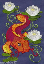 Koi And Lilies New Design Embroidered Set 2 Bathroom Hand Towels by laura