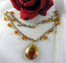 Dazzling Amber Glass Tear Drop Beaded  Necklace FERAL CAT RESCUE