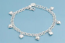"Bracelet with Heart Charm Sterling Silver 925 Jewelry Gift 7"" adjust to 8"""