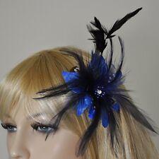Stoff Blüte Blume Federn Brosche royal Blau Fascinator Ansteckblume Haarschmuck