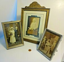 3  Antique Photo Frames w Easel Backs Wedding Photo, Baby in Snowbaby Snow Suit