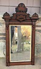 Antique Wood Wooden Carved Framed Victorian Eastlake Mirror 42''