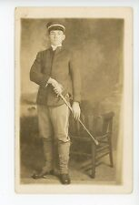 WWI Soldier w Sword RPPC Antique Military Office Photo ca. 1910s