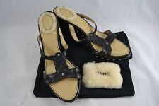 "UGG ""Rochelle"" black leather strappy wedges sandals size 38.5 (AU 7.5)"
