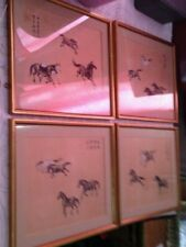 4 X  chinese silk paintings / framed  32 cm x 26 cm  EACH / STAMPED / SEAL MARK