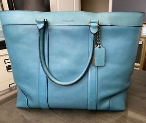 Coach Bleecker Legacy Weekend Tote Ocean Bag Style 70487 Leather Overnight Bag
