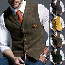 Hombre Chaleco Tops Chaqueta Cuello En V Tweed Vintage Camiseta Formal Negocios