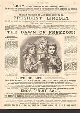 1900 ANTIQUE PRINT - ADVERT-ENO'S FRUIT SALT - THE DAWN OF FREEDOM, LINCOLN