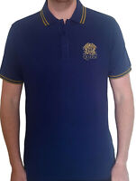 QUEEN Classic Band Logo Crest BLUE POLO T-SHIRT + EMBROIDERED LOGO OFFICIAL