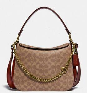 Coach Signature Chain 89177 Hobo Signature/Leather Tan/Rust Bag $350.00 #410MIN