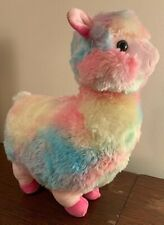 "Rainbow Llama Alpaca Plush 16"" Stuffed Animal Cute Soft Colorful Pastel Pink"