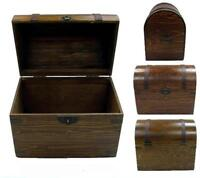 LARGE WOODEN TREASURE CHEST STORAGE BOX novelty old looking s#201 dentist prizes
