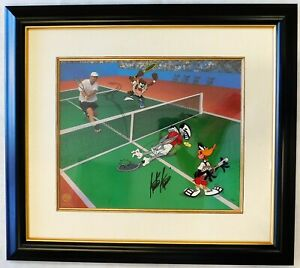 Andre Agassi Tennis Signed Warner Brothers Volley Folly Animation Cel /500 JSA