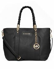 Michael Kors Naomi Goat Leather Twisted Handles Large Shoulder Tote Bag (Black)