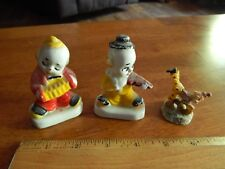 Clown Figurines [Lot of 3] Porcelain Musicians + Resin Cartwheel Character