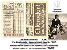Calcio-Coni / TOTOCALCIO (Schedina) Perugina-1950