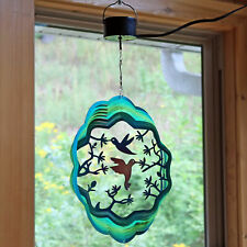 """Sunnydaze 3D Hanging Hummingbird Wind Spinner with Electric Operated Motor - 12"""""""
