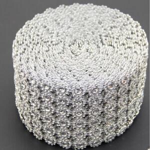 "3.75""X1-10 Yrds Flower Diamond Mesh Wrap Roll Crystal Rhinestone Bling Ribbon x"