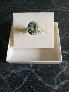 Oval Cut Blue Aquamarine & Diamond Halo Ring 14K White Gold