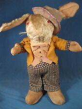 "Vintage, Antique 17"" Dressed Easter Rabbit Doll, Plush & Cloth, Needs TLC"