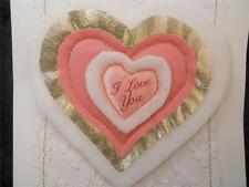 Handmade Blank Inside Pink I Love You on Fabric 4 Layers Sewn with Gold Thread