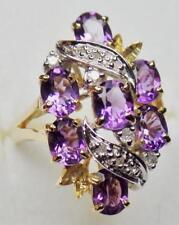 EXQUISITE ESTATE 14K GOLD AMETHYST DIAMOND CLUSTER COCKTAIL RING DESIGNER SIGNED