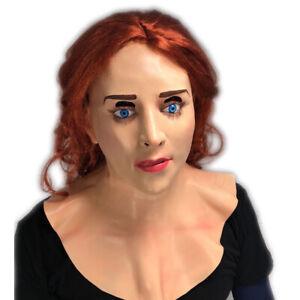White Female Lady Doll Mask Ginger Hair Wig Latex Cross Dress Fetish Costume