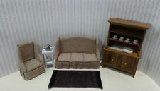Dollhouse Miniature 4 pc Print Living Room set with rug,plant & dishes