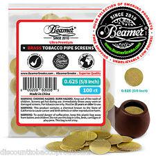 "100 Beamer Brass Metal Tobacco Smoking Pipe Screens .625"" 5/8""Comp2 Glass, Steel"