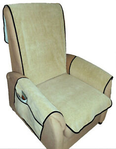 Sesselschoner Schoner Sesselauflage Velourleder Optik beige Auflage Velour Optik