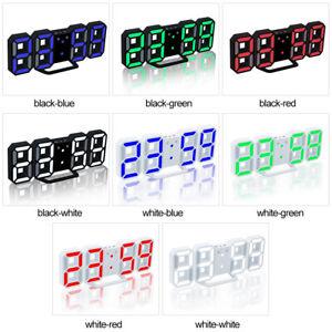3D Modern Digital LED Wall Clock 24/12 Hour Display Timer Alarm Home USB W1N6