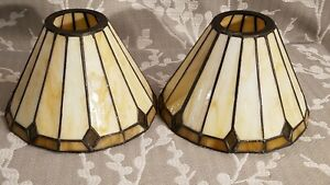Vtg pair of Leaded Stain Glass Slag Lamp Shades