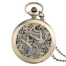 Copper Bronze Hollow Flower Magpie Pocket Watch Pendant Necklace Elegant Women