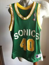 CHAMPION NBA SEATTLE SUPERSONICS SONICS SHAWN KEMP 40# JERSEY VINTAGE ANNI'90