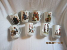 Set of 8 Norman Rockwell Museum Coffee Mugs 1982 White China with Gold Rim