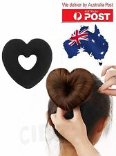 Hair Bun Style Tool Donut Maker Girls Heart Ponytail Wrap BONUS Pins & Elastic