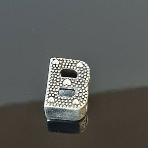 Pandora  Alphabet Letter B Dots Hearts Silver Initial B 797456 Free Tracked Post