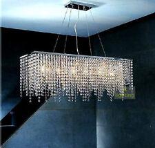 Modern Chandelier Rectangle Dining Room Pendant Light Rain Drop Crystal Lighting