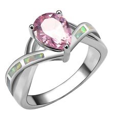 """GORGEOUS WHITE  FIRE OPAL/PINK TOPAZ  RING UK Size """"N""""  /  US SIZE  7"""