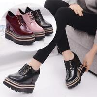 Womens Wedge High Heels Platform Creeper Brogue Lace Up Patent Leather Shoes sz