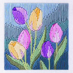 Tulips Long Stitch Picture Kit, 22ct Printed Canvas, Anchor Cotton, 11 x 11 cm