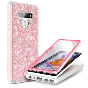 For LG Stylo 6 Case Full Body Glitter Phone Cover With Built-In Screen Protector
