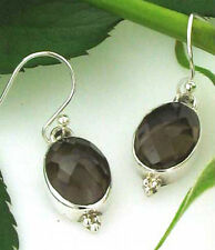 Smokey Quartz Faceted Oval Drop Earrings in Sterling Silver
